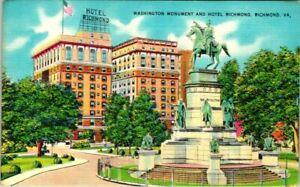 C51-7543, WASHINGTON MONUMENT AND HOTEL RICHMOND, RICHMOND, VA., . POSTCARD.