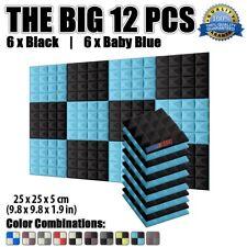 New 12 pcs Pack 25*25*5cm Black and Baby Blue Pyramid Acoustic Foam Panel KK1034