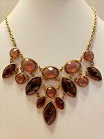 Vintage Statement/Victorian/Boho/Foiled Back Beads/Gold Tone/Necklace