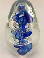 HAND BLOWN COBALT ART GLASS EGG SHAPED PAPERWEIGHT ASSOC OF VT CREDIT UNIONS
