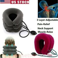 Portable Air Inflatable Pillow Cervical Neck Head Pain Traction Support Brace US