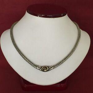 "John Hardy 925 SS and 18k Yellow Gold Wheat Link Cobra Choker Necklace 16.25"""