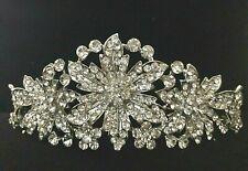 Clear Crystal Floral Half Tiara - Prom Bridal Formal Hair Clip Headpiece