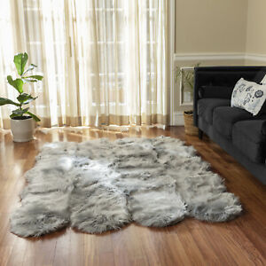 Faux Fur Super Soft Silky Area Rug   Machine Washable & Non-slip Backing