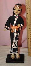 Lovely Vintage  60s  Japanese Ainu Costumre Pose Doll from Japan Unusual