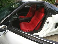 Acura NSX Red Synthetic Leather Seat Covers with Perforated inserts