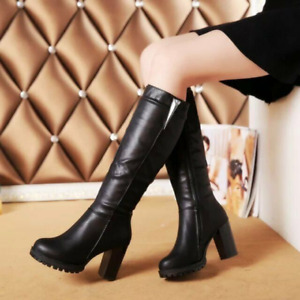 Women Chunky Heel Pu Leather Mid Calf Knee High Riding Boots Motorcycle Shoes