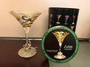 """Lolita """"Jingle Bells"""" Martini Glass Retired Collectible  in decorative Case"""