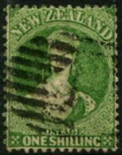NEW ZEALAND - 1864 1/- 'YELLOW-GREEN' FU SG125 Cv £120 [B0715]