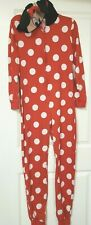 Disney Parks Authentic Women'S Minnie Overall Pajama Outfit Polka Dot Red Small