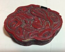 RARE Chinese 19 C Red Cinnabar Lacquer Lobed Box