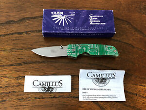 Camillus Cuda CY1 Circuit Board Cyber Folding Knife with Box and Paperwork NEW