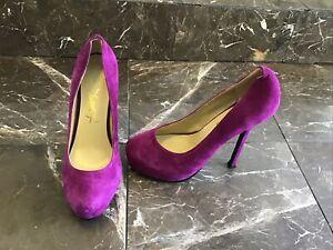 NEW YSL purple suede high heel pumps 39-9us