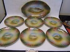Franz Anton Mehlem Rare Fish Platter and 6 Plates AUC