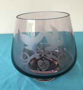 Vintage Caithness Amethyst Purple Etched Doves 25 - Bowl Vase
