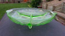 "Depression Glass- Green ""Horseshoe"" No. 612 3 Part Relish Dish, Indiana Glass"
