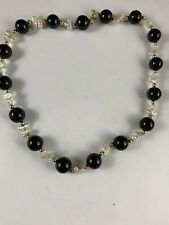 14K Yellow Gold Onyx Keshi Pearl gold Bead Necklace