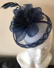 Navy Blue Flower,mesh Material With Feathers Fascinator Race All Ladies Day Weds