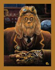 Steampunk Art Ape Orangutan Monkey Lowbrow Kustom Pulp Pop Art Sci Fi Print