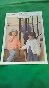 knitting pattern  Childrens Aran  Round and V neck  Cardigans size 20 to 28 inch