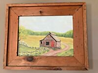 VTG Handpainted Farm Barn Scene Wall Picture Wood Frame Farmhouse Rustic Cabin