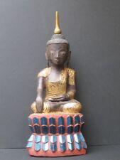 Bouddha Shan en Bois, Incrustations verre BIRMANIE