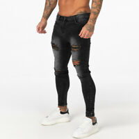 GINGTTO Ripped Men Black Jeans Washed Skinny Fit Stretch Slim Biker Trousers