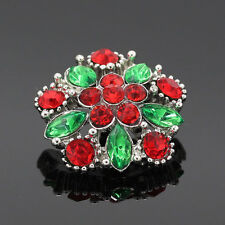 RED & GREEN Christmas Rhinestone  Noosa Ginger Snaps Button Charm 18mm
