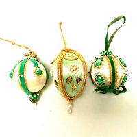 Vintage Hand Made 3 Green Tone Satin Christmas Ornament Balls