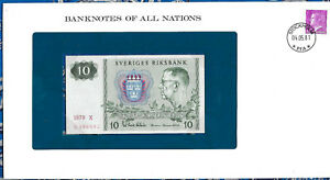 Banknotes of All Nations Sweden 10 Kronor 1979 serie X P-52d UNC BIRTHDAY 1988