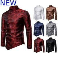 Mens Slim Fit Top Long Sleeve Dress Shirts Blouse Shirt Floral Casual Stylish