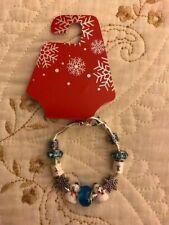 """European Style Blue Snowflake, Snowman Charm Bracelet, 7"""", Silvertone"""