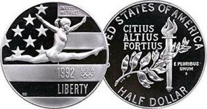 1992 P Olympic Gymnast Half Dollar Gem Proof No Reserve