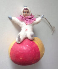 RARE UNIQUE ANTIQUE BABY KID ON BALL spun cotton Christmas Ornament tree 1940