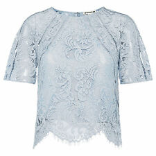 Waist Length Lace Party Semi Fitted Tops & Shirts for Women