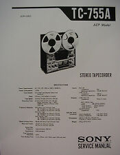 SONY TC-755A TAPE DECK SERVICE  MANUAL 60 Pages