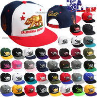 Baseball Cap California Republic CALI Bear Hat Snapback Adjustable Flat Brim Men