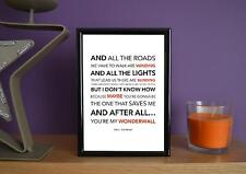 Framed - Oasis - Wonderwall - Poster Art Print - 5x7 Inches