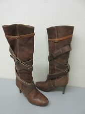 Chloe Made in Italy Brown Leather 'Paddington' Strappy Wrap Boot Size 38