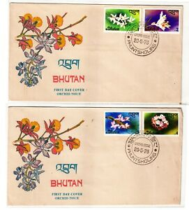 Bhutan-8Diff 1976 Complete Set Stamps FD Cancelled with 4 Diff Cover #15FD15