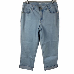 Style & Co. Curvy Capri Cuffed Jeans size 8 Light Wash Cropped Crop