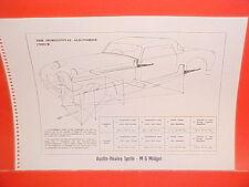 1965 AUSTIN-HEALEY SPRITE 3000 CONVERTIBLE MG MIDGET FRAME DIMENSION CHART