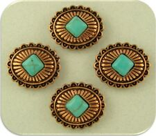 2 Hole Beads Faux Turquoise Conchos ~ Copper Plated Metal Castings Sliders QTY 4