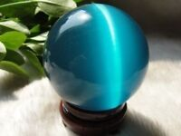 Beautiful ASIAN QUARTZ BLUE CAT EYE CRYSTAL BALL SPHERE 40MM + STAND
