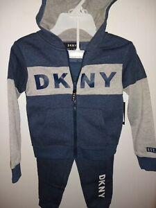 DKNY Boy's 2PC Set Hoodie & Joger pants Fleece Lined SZ 4, 5, 6, 7 Yrs Blue/Grey