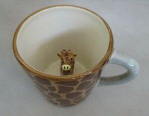 Giraffe Surprise Coffee Mug Cup w/Figurine Inside Cup Giraffe Print Coffee Mug