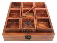 Handmade Wooden Spice Container Box With Spoon Jars Cum Kitchen Masaala Dabba