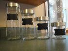 Libbey Clear Glass 4 Piece Storage Canister Jar Set w/Stainless Steel Lids
