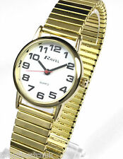Ravel Ladies Big Numbers Gilt Expander Bracelet Watch Easy to Read Watches