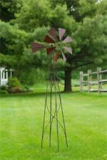 New Rustic Red Weather Vane Wind Mill Garden Stake Standing Lawn Ornament